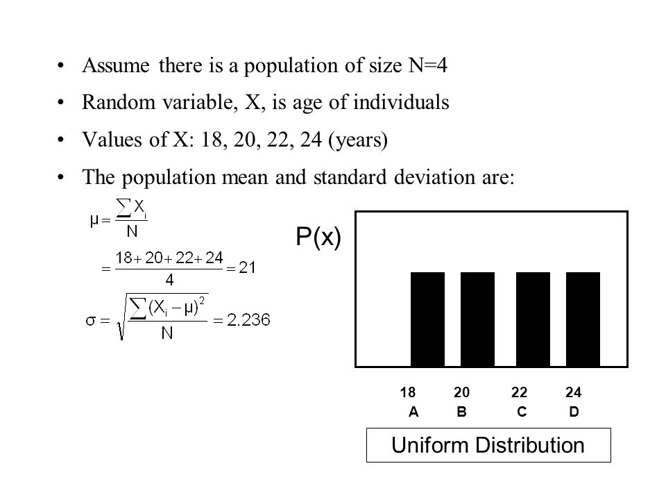 P(x) Assume there is a population of size N=4
