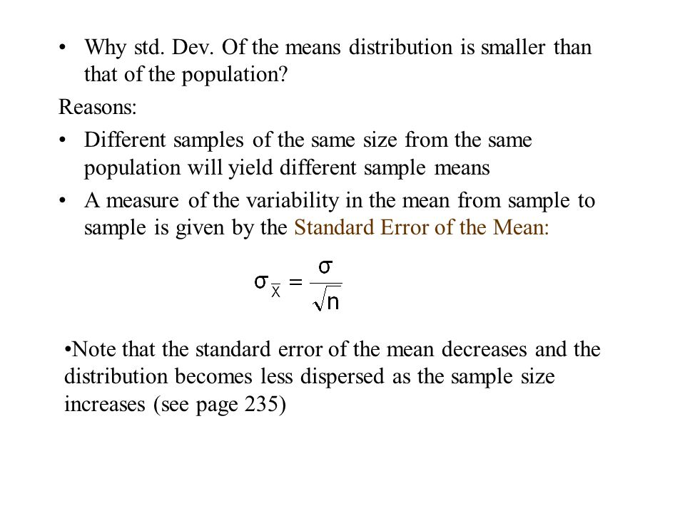 Why std. Dev. Of the means distribution is smaller than that of the population