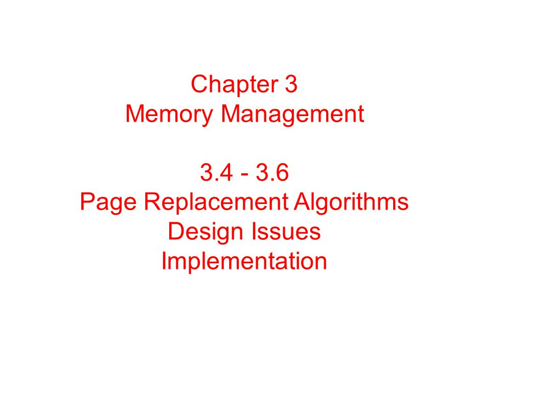 Chapter 3 Memory Management