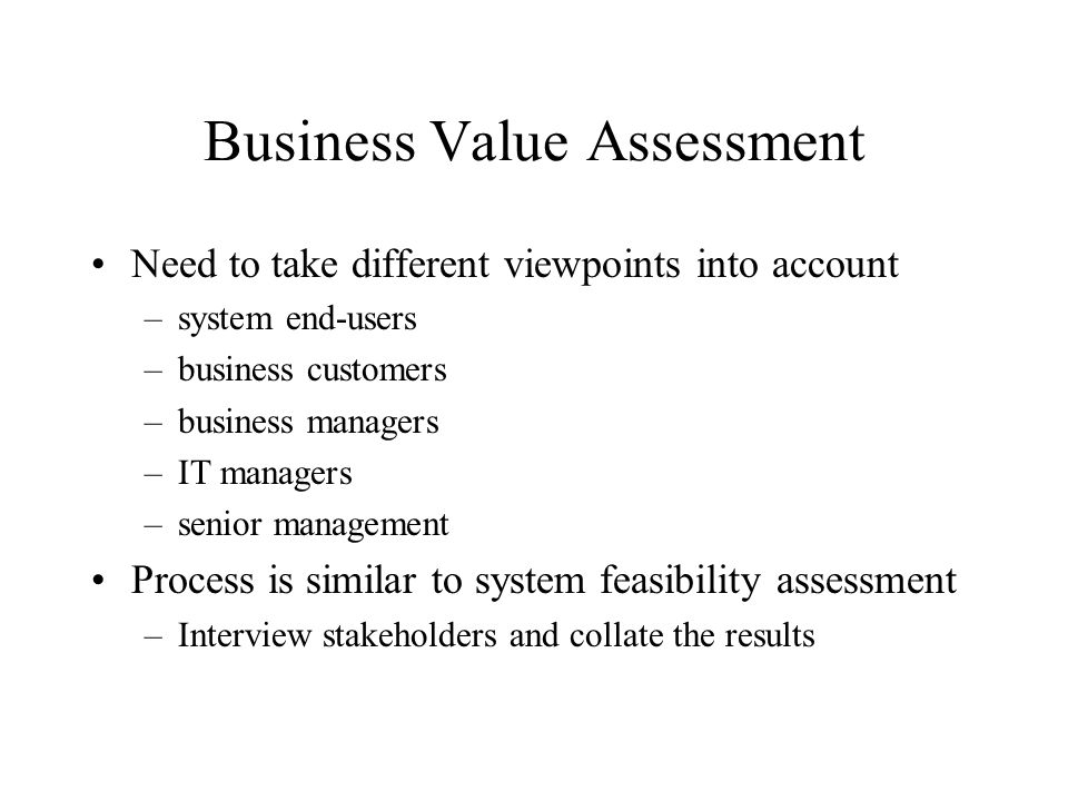 Business Value Assessment
