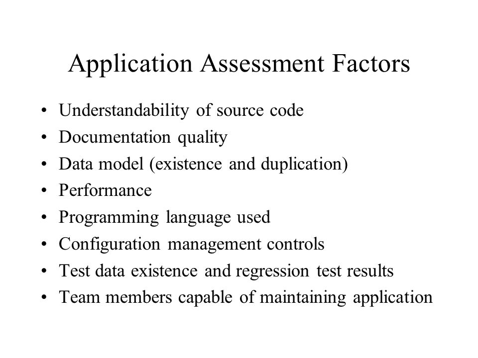 Application Assessment Factors