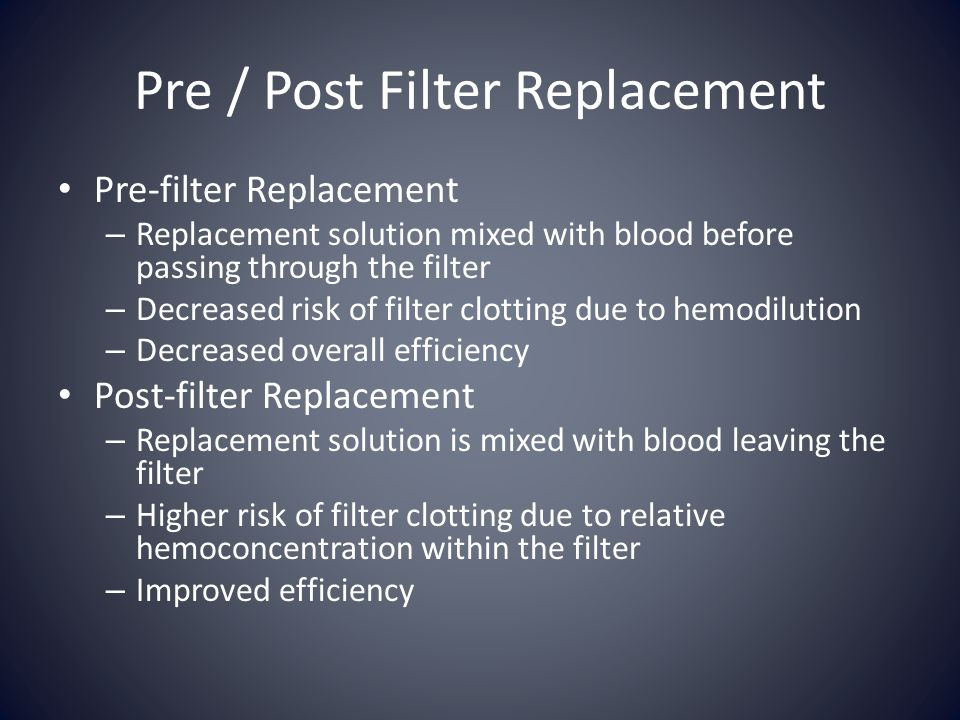 Pre / Post Filter Replacement