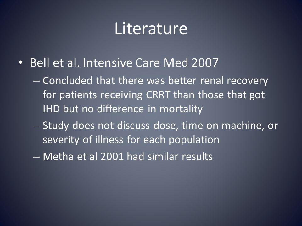 Literature Bell et al. Intensive Care Med 2007