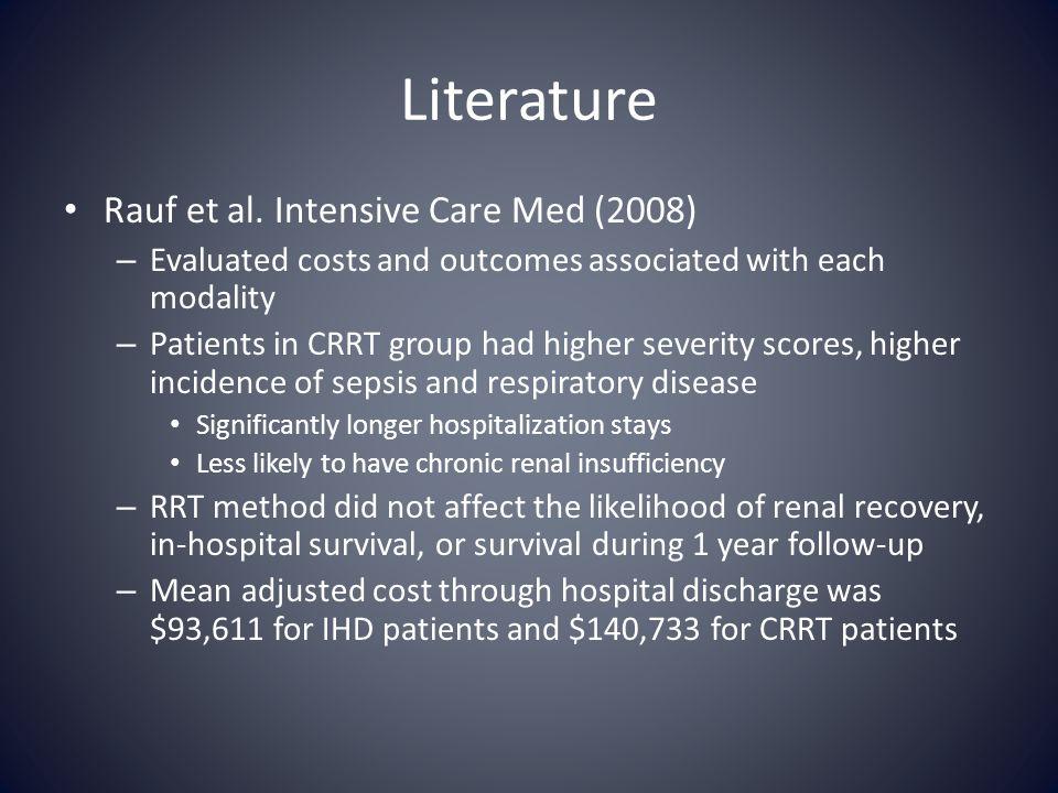 Literature Rauf et al. Intensive Care Med (2008)
