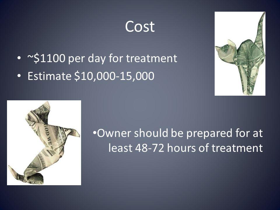 Cost ~$1100 per day for treatment Estimate $10,000-15,000