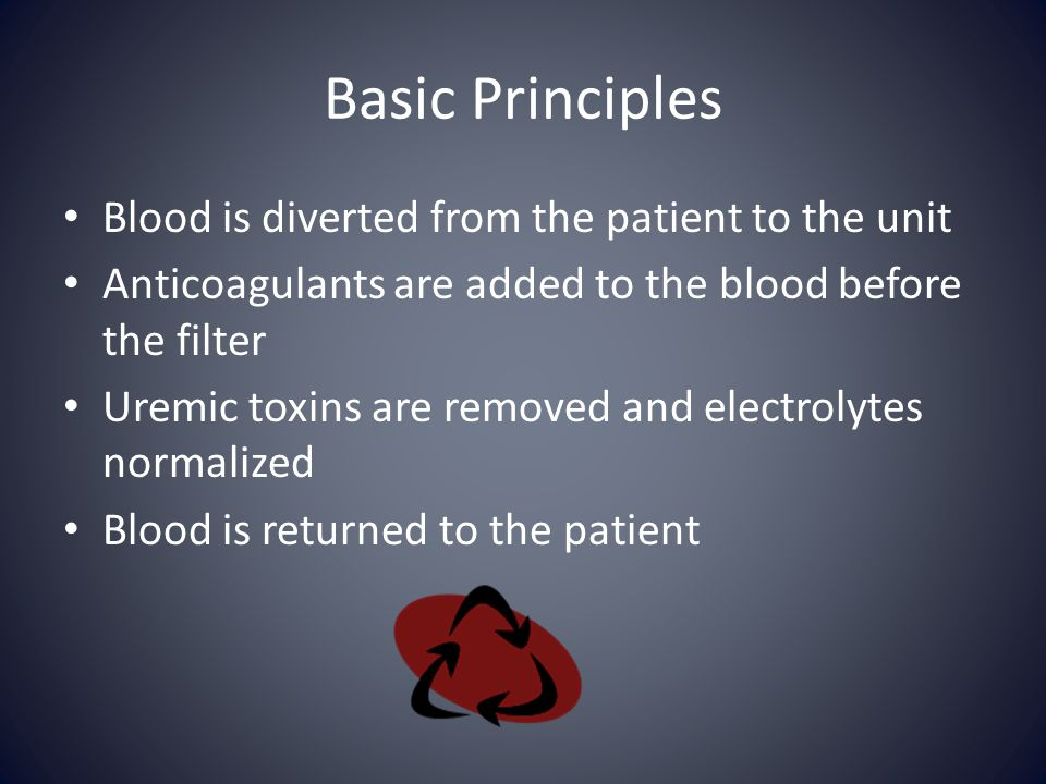 Basic Principles Blood is diverted from the patient to the unit