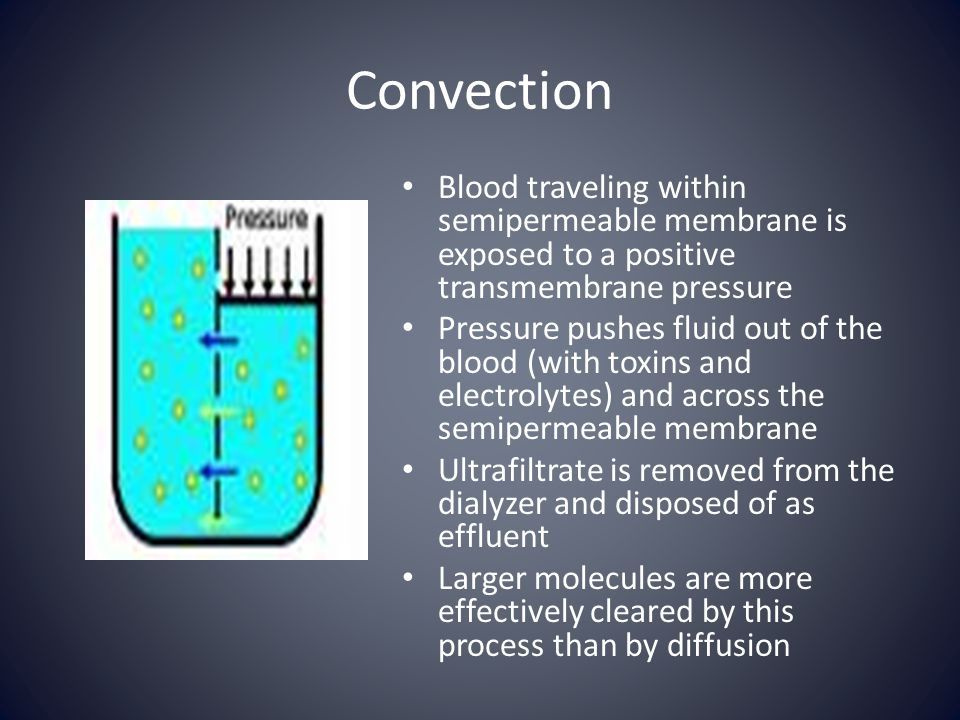 Convection Blood traveling within semipermeable membrane is exposed to a positive transmembrane pressure.
