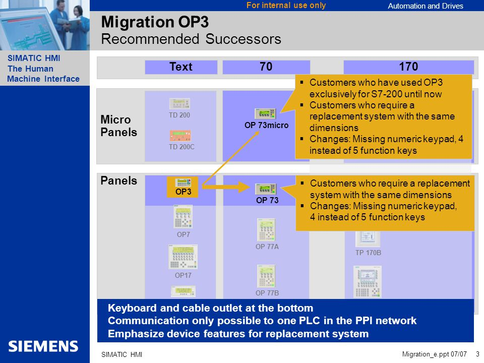 Migration OP3 Recommended Successors