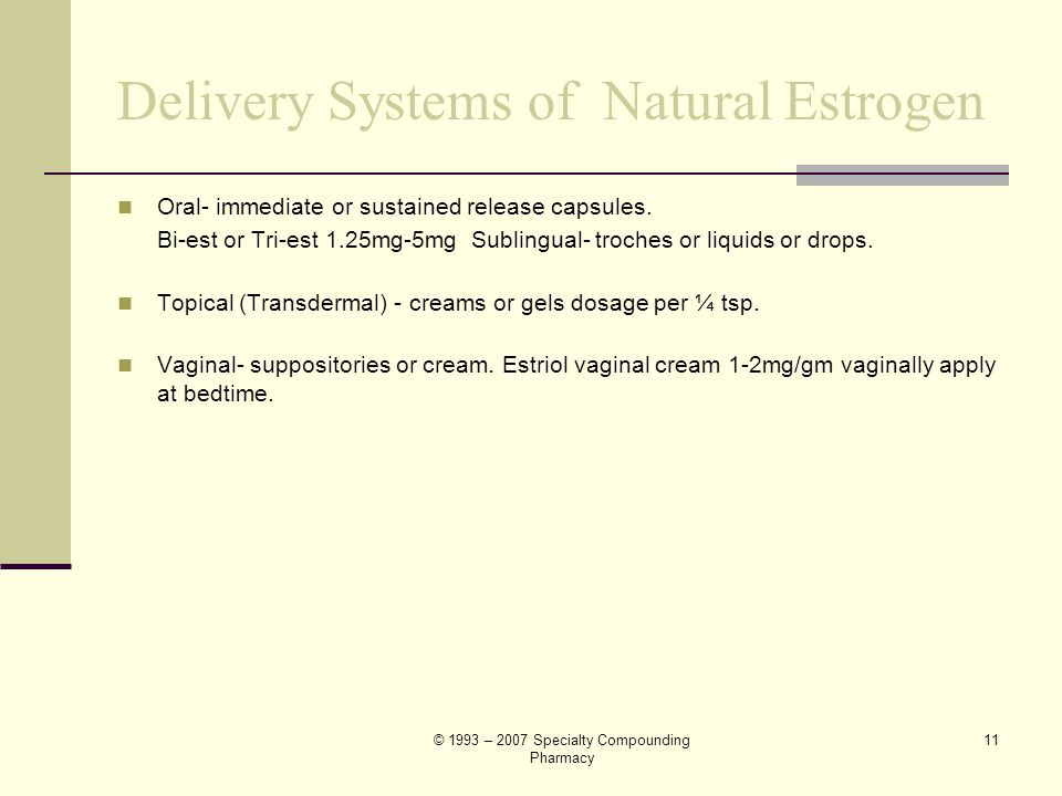 Delivery Systems of Natural Estrogen