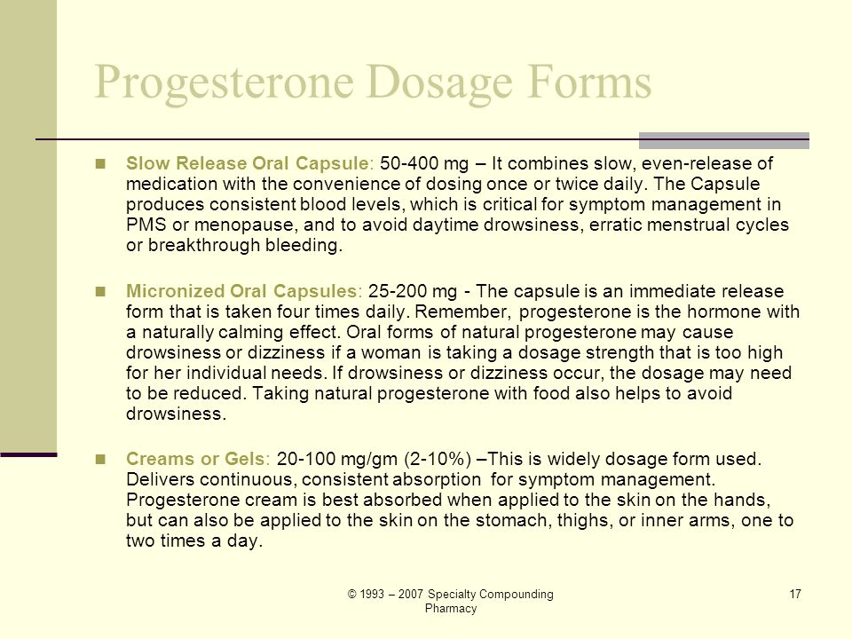 Progesterone Dosage Forms
