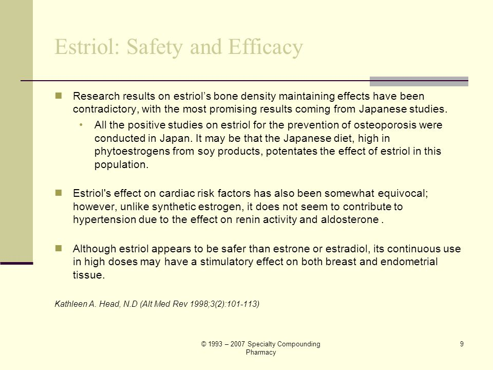 Estriol: Safety and Efficacy