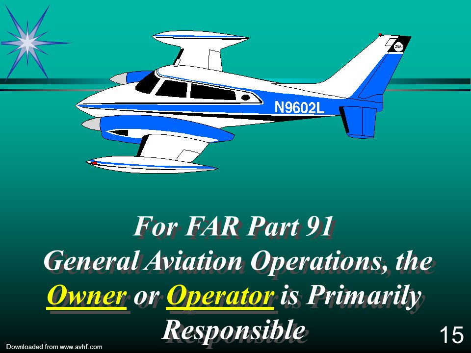 For FAR Part 91 General Aviation Operations, the Owner or Operator is Primarily Responsible