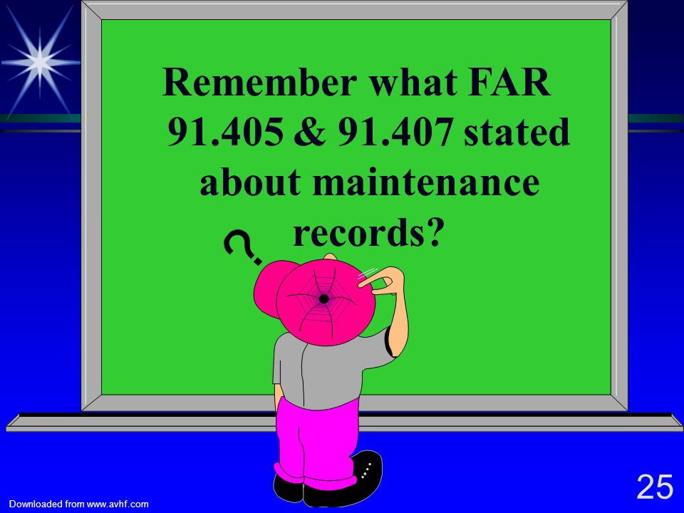 Remember what FAR 91.405 & 91.407 stated about maintenance records