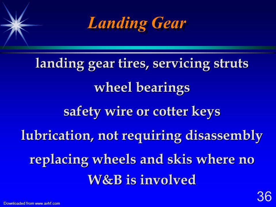 Landing Gear landing gear tires, servicing struts wheel bearings