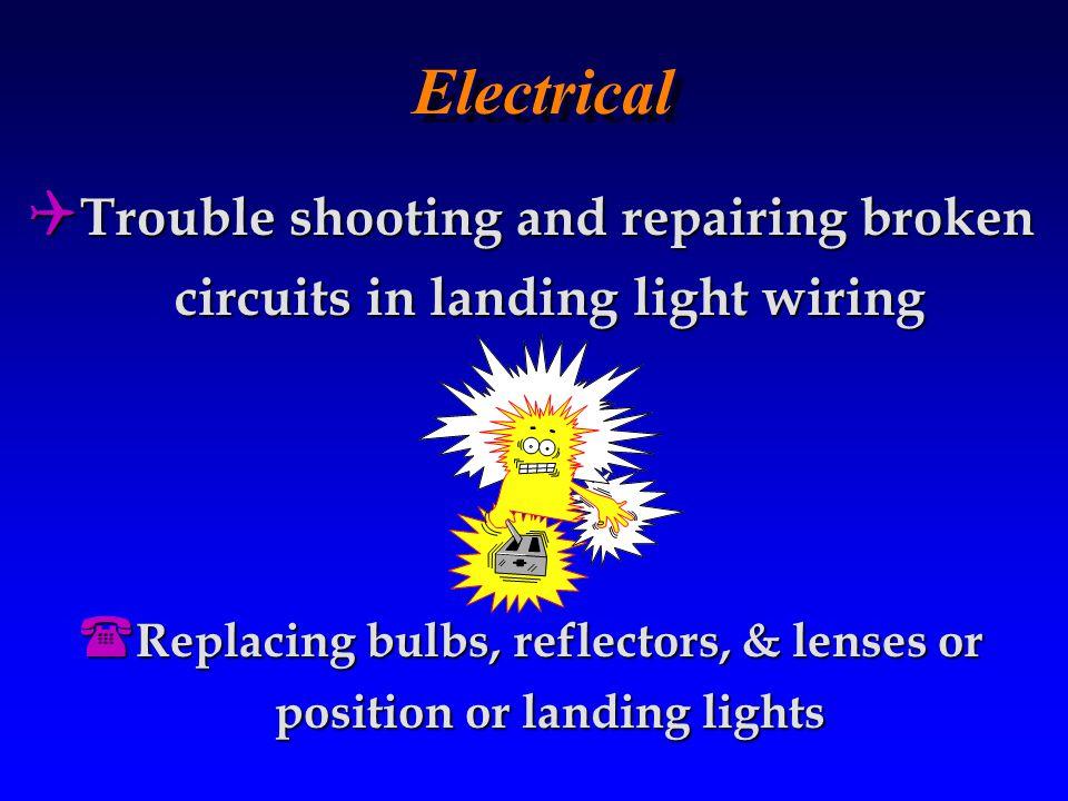 Electrical Trouble shooting and repairing broken circuits in landing light wiring.