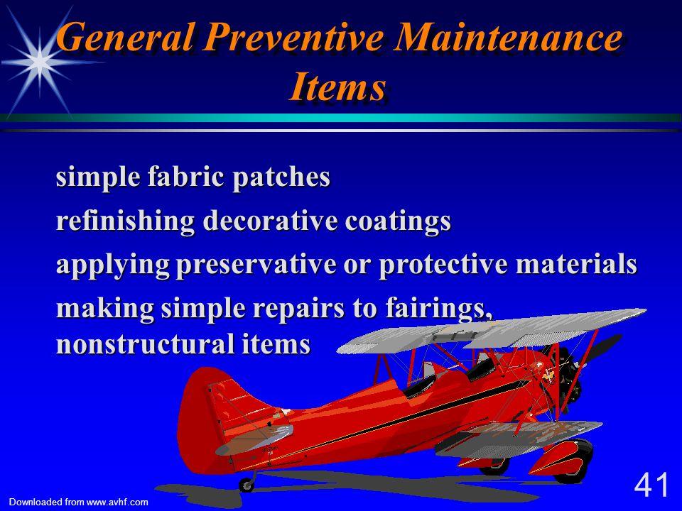 General Preventive Maintenance Items