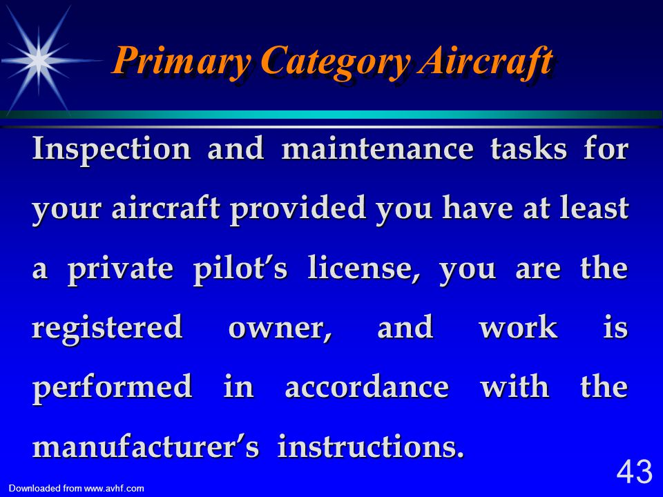 Primary Category Aircraft