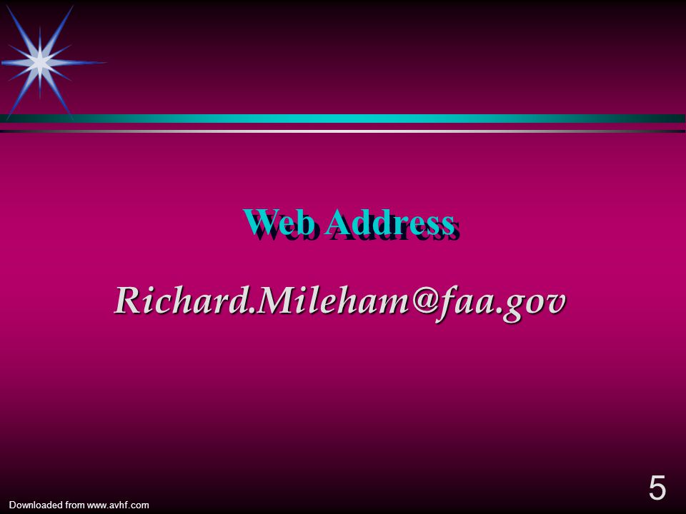 Web Address Richard.Mileham@faa.gov