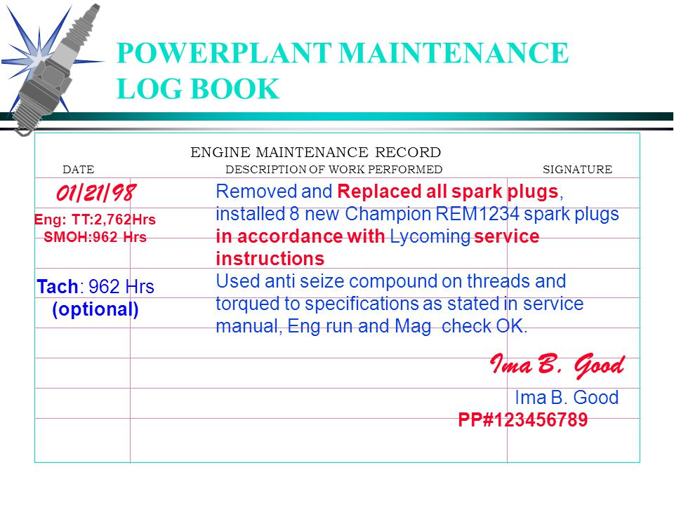 POWERPLANT MAINTENANCE LOG BOOK