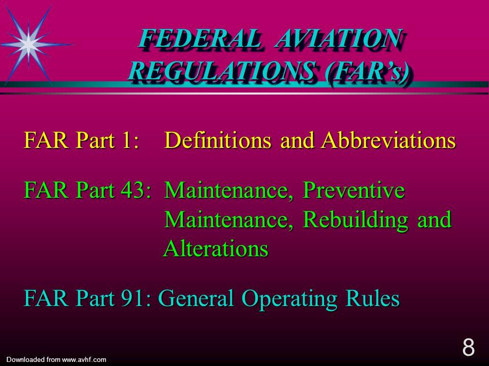 FEDERAL AVIATION REGULATIONS (FAR's)