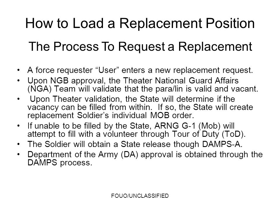 How to Load a Replacement Position