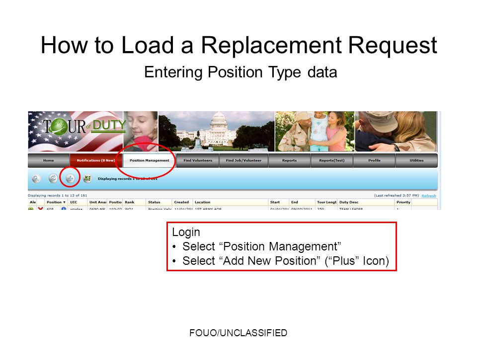 How to Load a Replacement Request