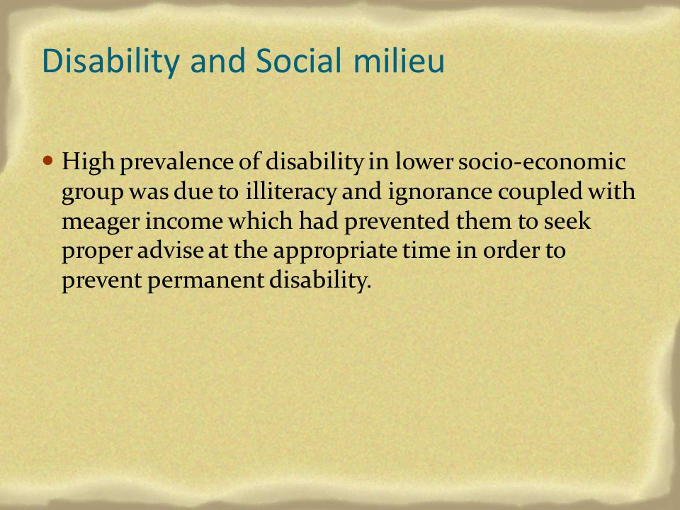 Disability and Social milieu