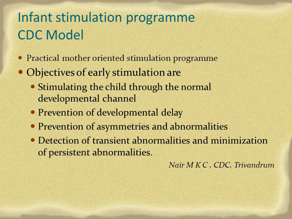 Infant stimulation programme CDC Model