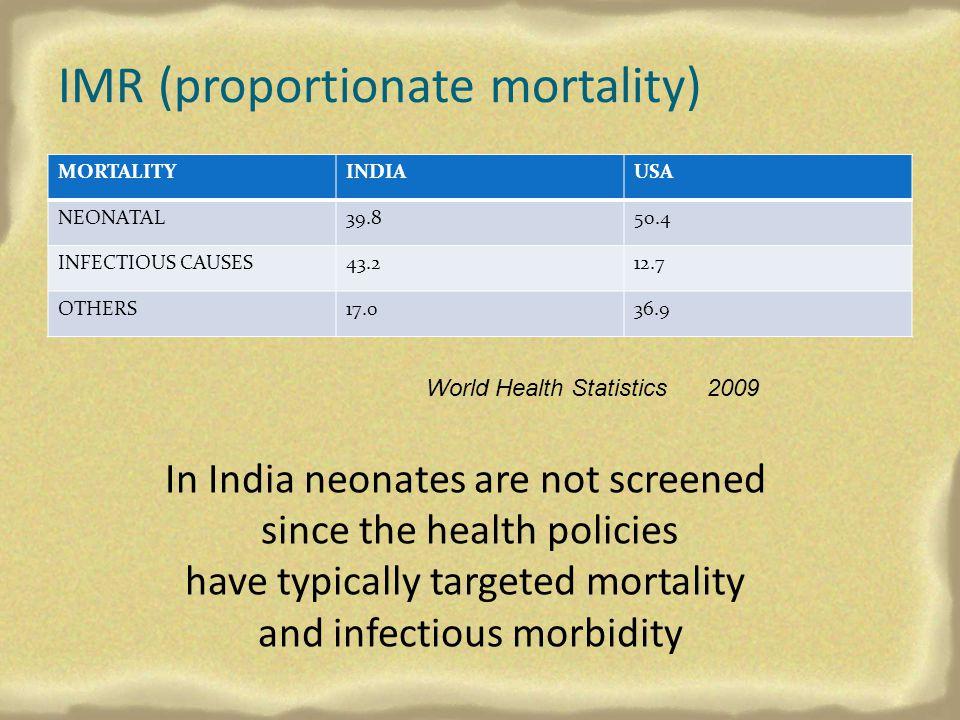 IMR (proportionate mortality)