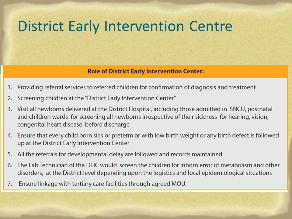 District Early Intervention Centre