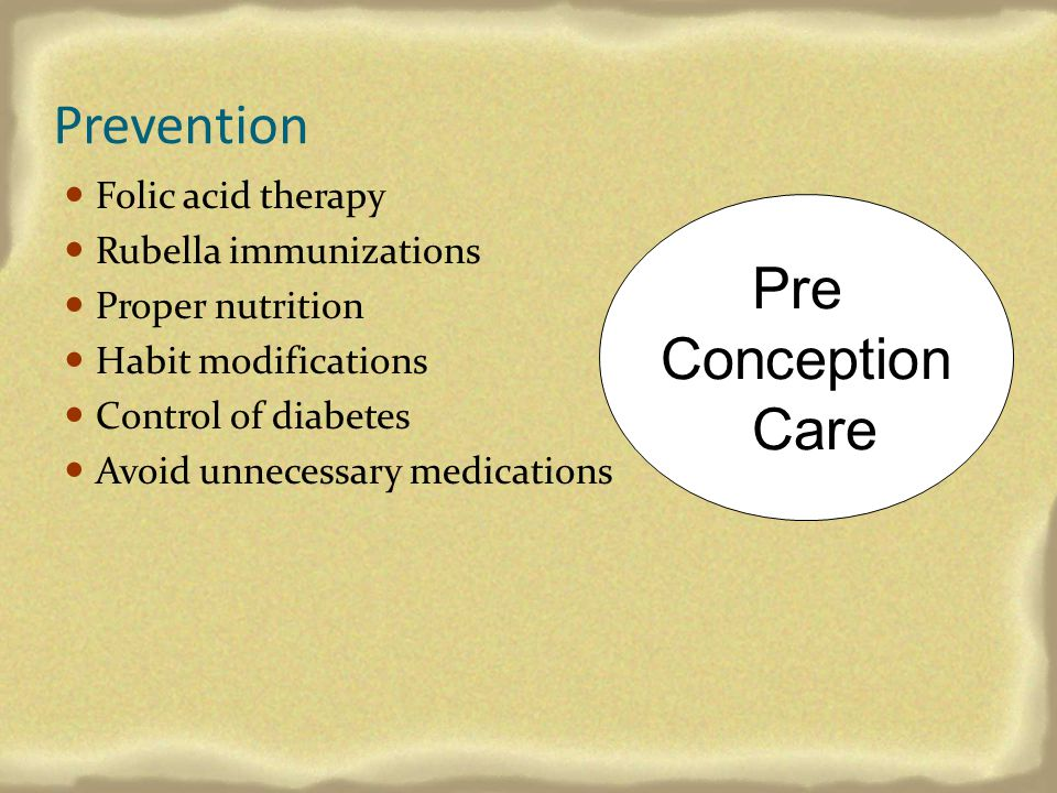 Prevention Pre Conception Care Folic acid therapy