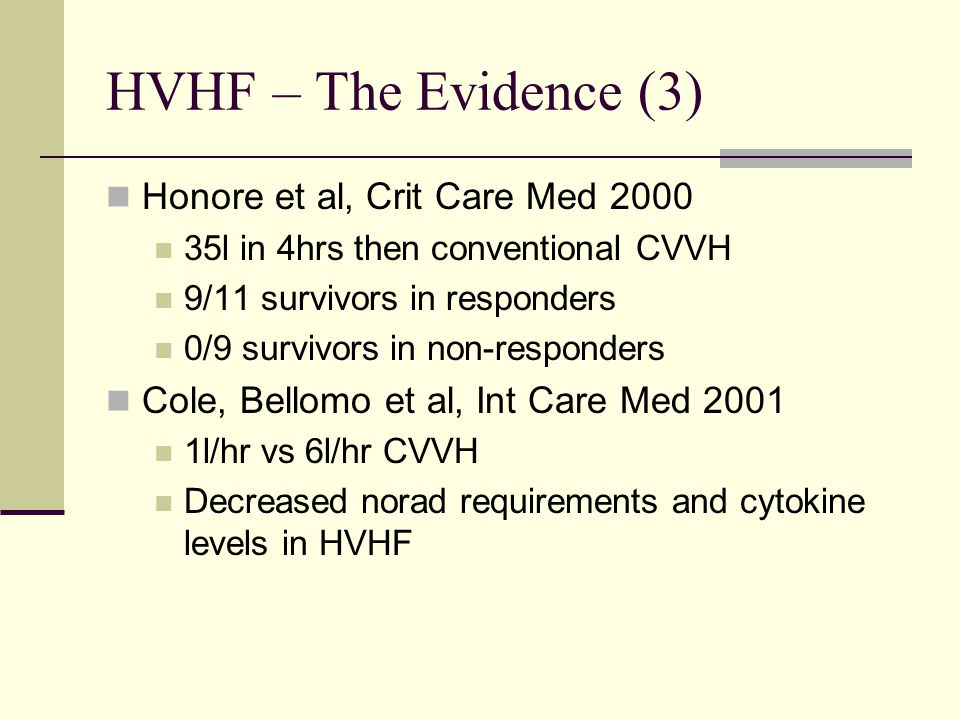HVHF – The Evidence (3) Honore et al, Crit Care Med 2000