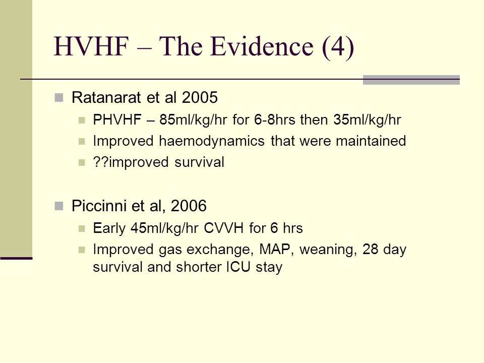 HVHF – The Evidence (4) Ratanarat et al 2005 Piccinni et al, 2006