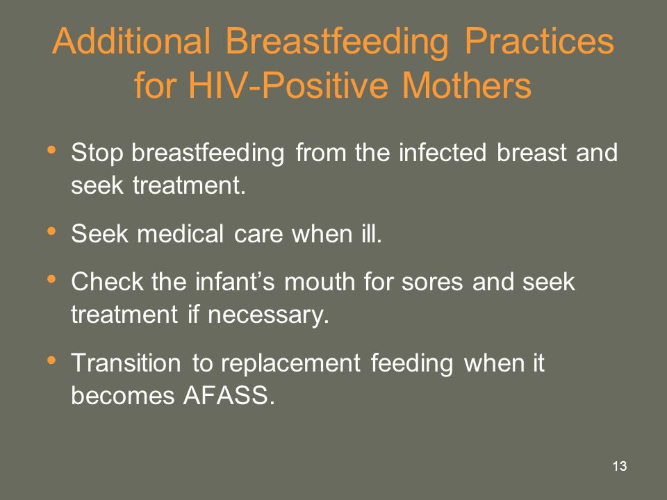 Additional Breastfeeding Practices for HIV-Positive Mothers