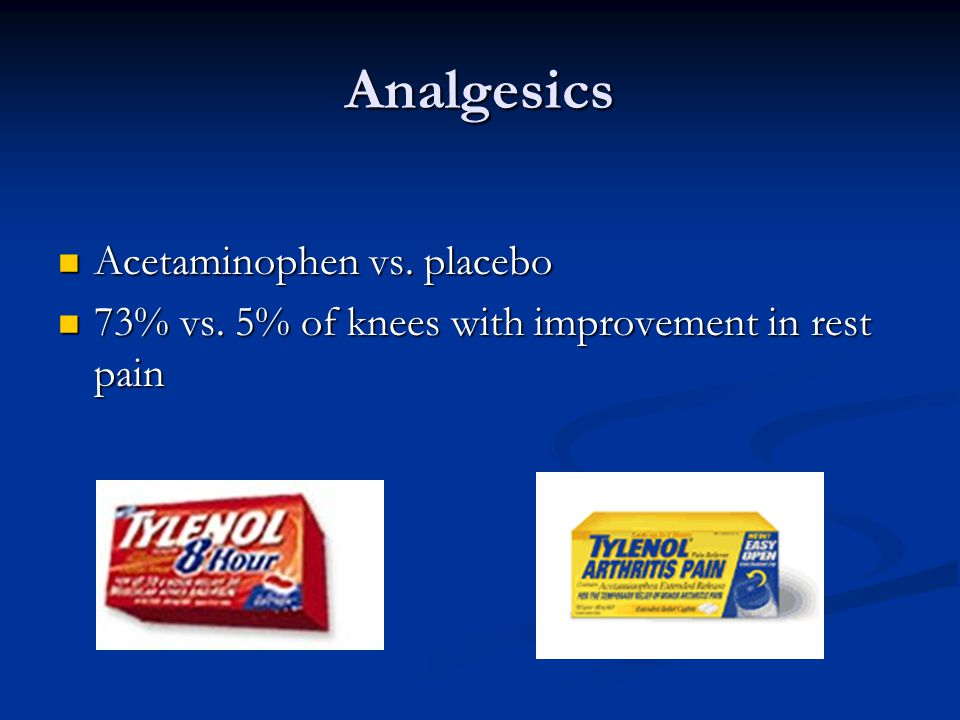 Analgesics Acetaminophen vs. placebo