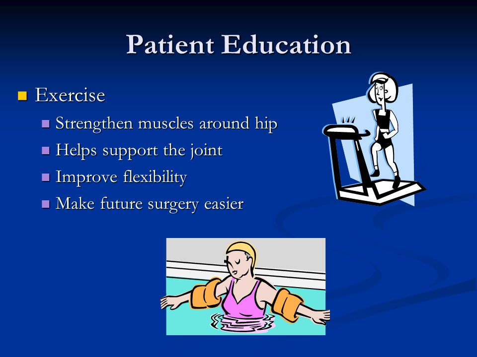 Patient Education Exercise Strengthen muscles around hip
