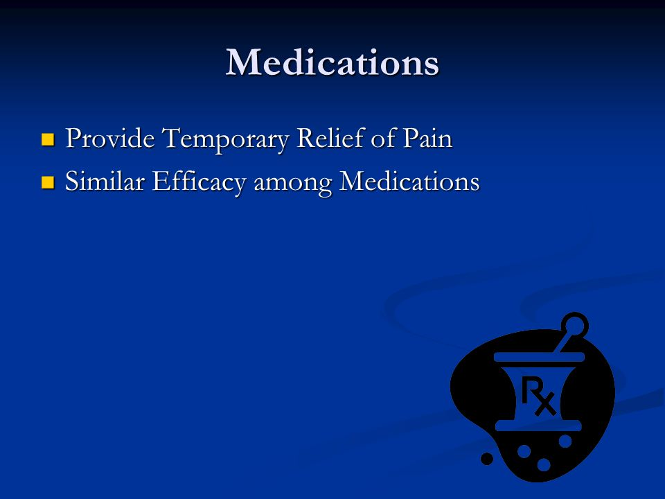 Medications Provide Temporary Relief of Pain