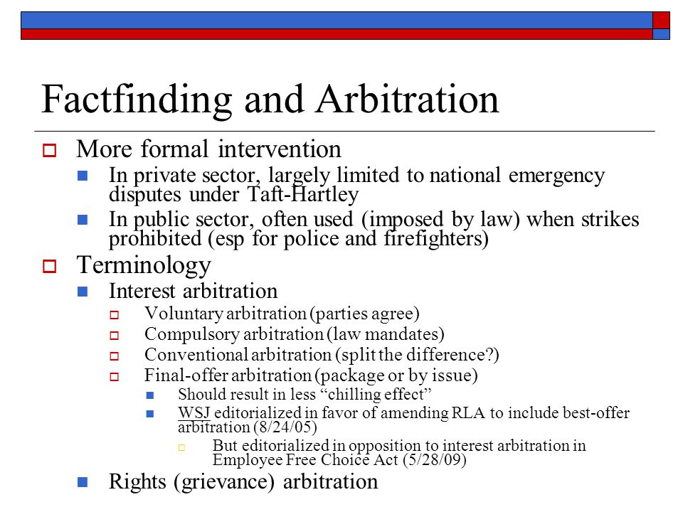 Factfinding and Arbitration