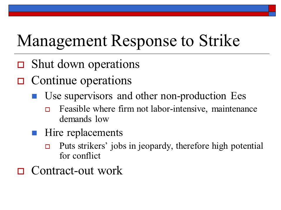 Management Response to Strike