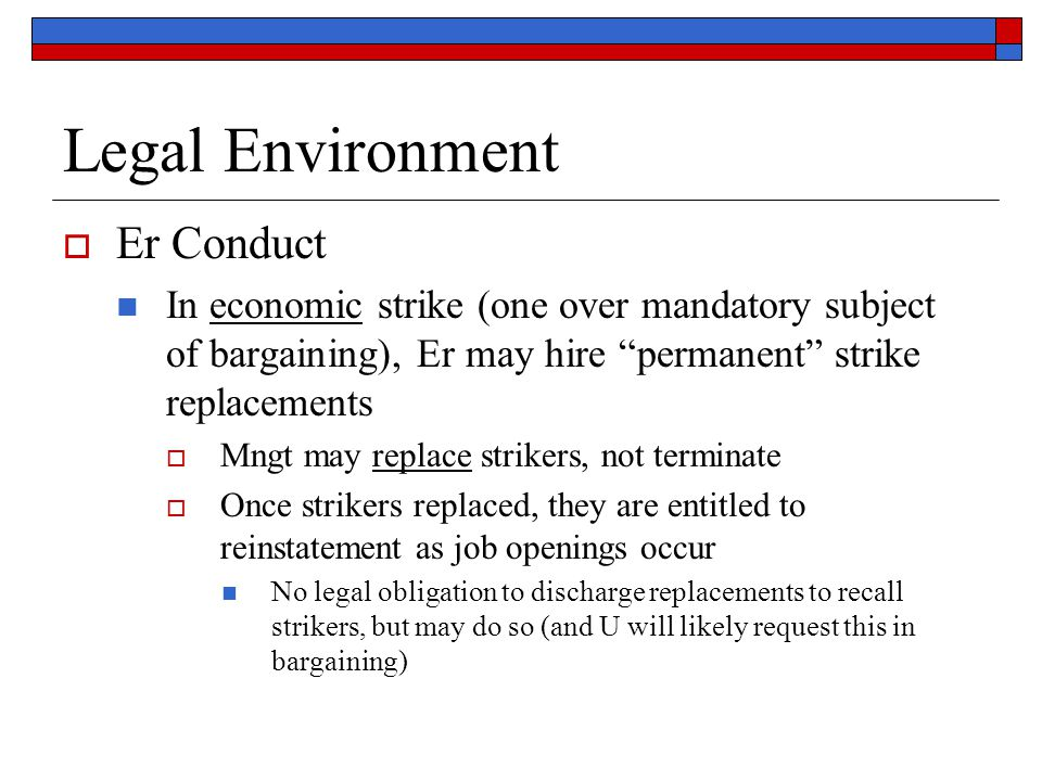 Legal Environment Er Conduct