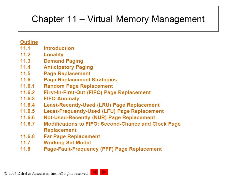 Chapter 11 – Virtual Memory Management