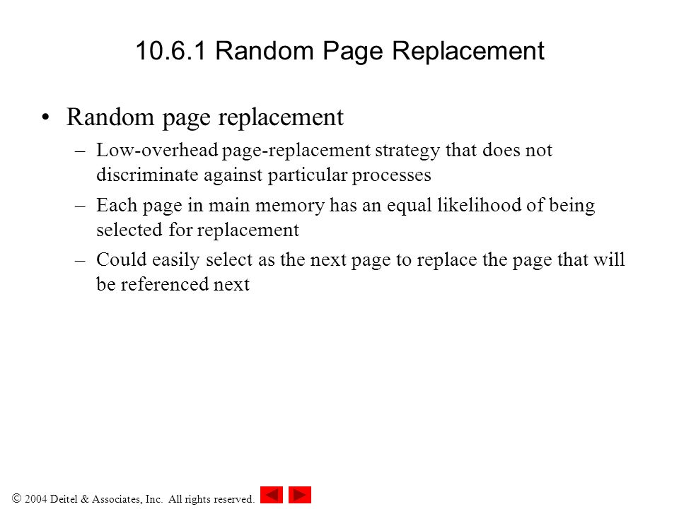 10.6.1 Random Page Replacement