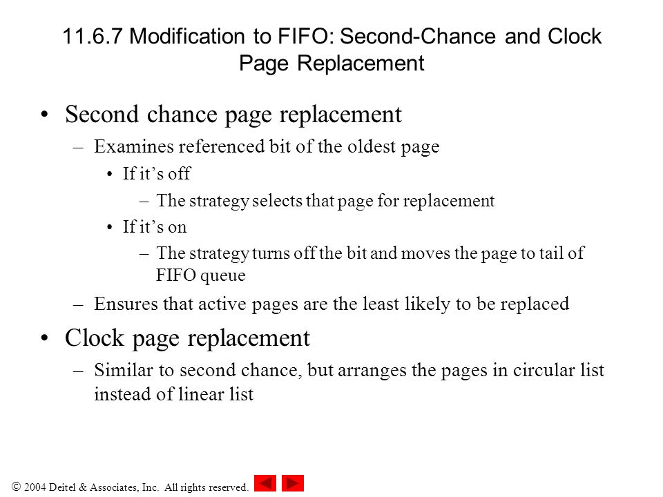 11.6.7 Modification to FIFO: Second-Chance and Clock Page Replacement