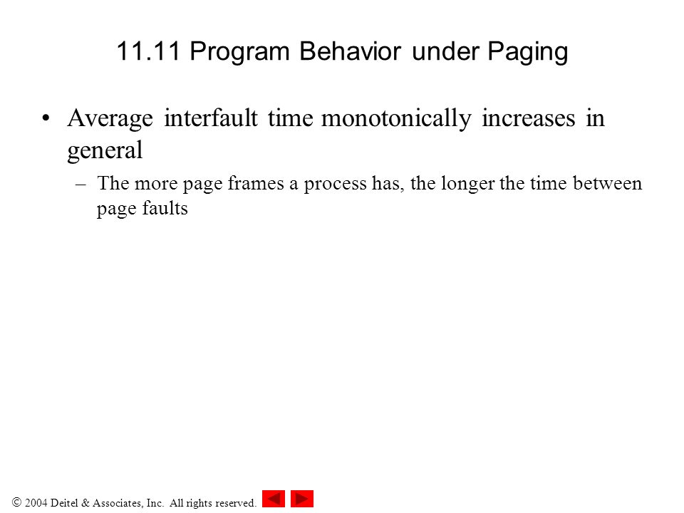 11.11 Program Behavior under Paging