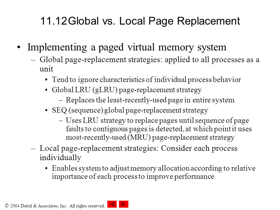 11.12 Global vs. Local Page Replacement