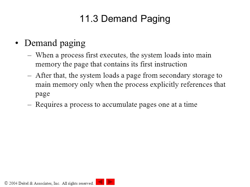 11.3 Demand Paging Demand paging