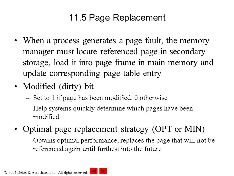 Optimal page replacement strategy (OPT or MIN)