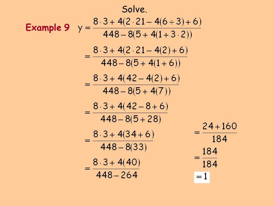 Solve. Example 9