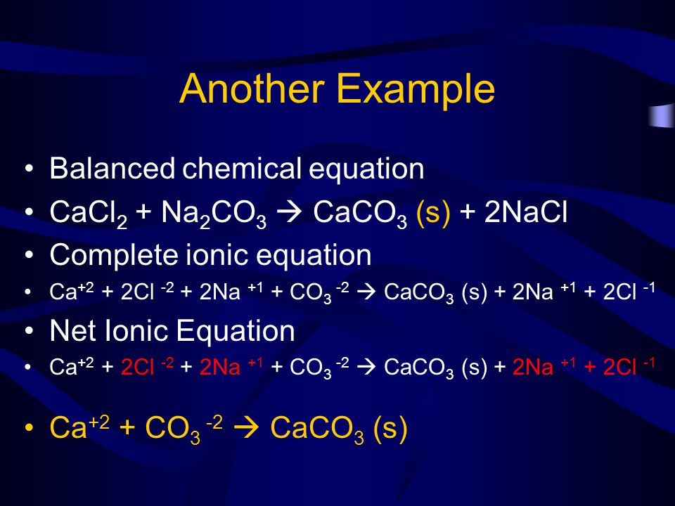 Another Example Balanced chemical equation