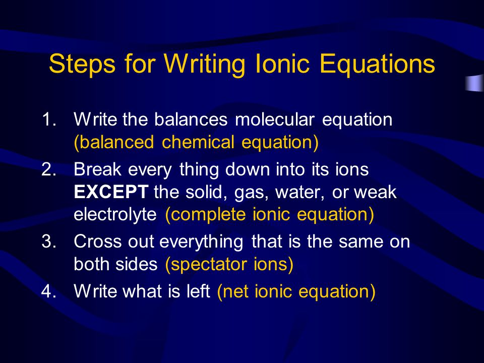 Steps for Writing Ionic Equations